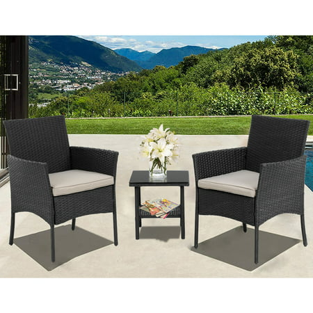 Woven Top Conversation Table (Patio Furniture Sets 3 Pieces Outdoor Bistro Set Rattan Chairs Wicker Conversation Sets with Table Outdoor Garden Furniture Sets,Black)