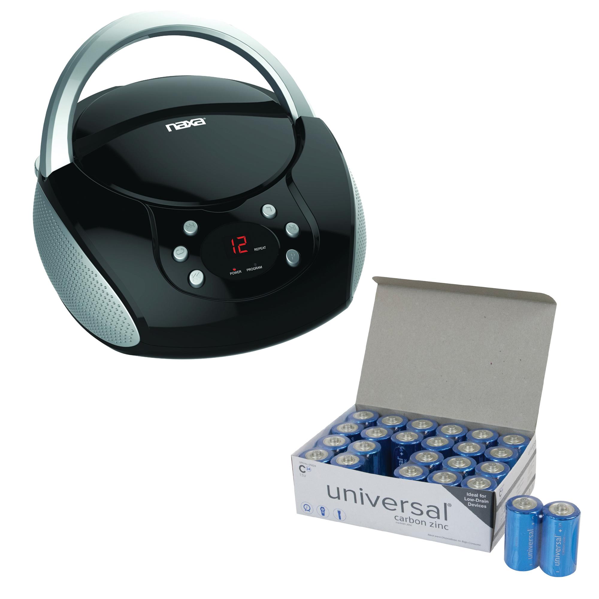Naxa NPB-240 Portable CD Boom Box & UPG C 24 PACK