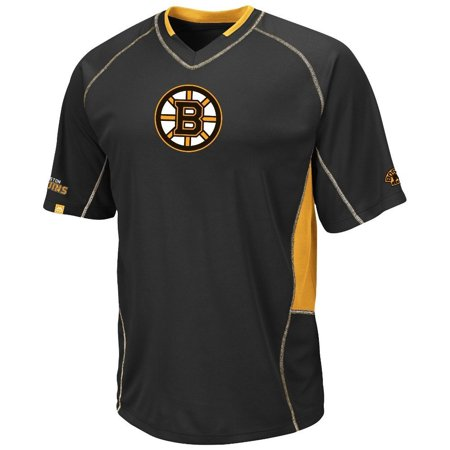 Boston Bruins Black Sweep Check  Synthetic V-Neck Top (S) ()