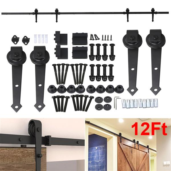 12Ft Sliding Barn Door Closet Hardware Set Black Wood Antique Style Double Track Kit System