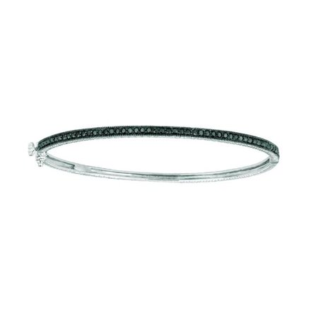 Harry Chad Enterprises 16087 0.75 CT Black Pave Diamond Milgrain Bangle - 14K White - image 1 de 1