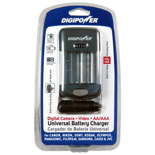 DigiPower Universal Camera Battery Charger - Sony, Canon, Nikon, Kodak, Olympus and More - Car and Wall Charger
