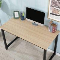Corner Computer Desk, Home Office Desk with Wood Desktop & Metal Frame, Heavy Duty Computer Table, Modern Kid Student Writing Table, Laptop Desk Workstation, Office Furniture, Wood Color, W4416