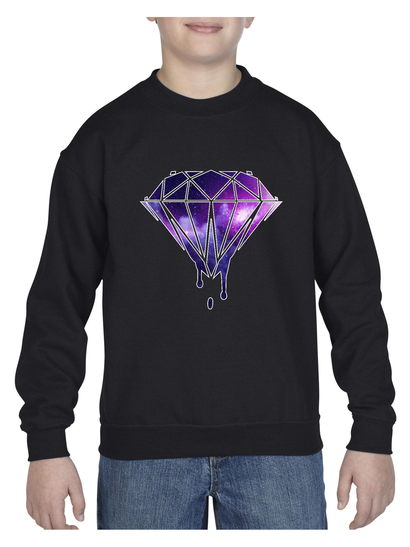 Diamond Galaxy Melting Bleeding Dripping Unisex Youth Crewneck Sweatshirt