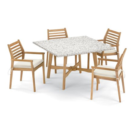 Wexford 5 Piece Natural Shorea Patio Dining Set W/ 48 Inch Square Lite-Core Ash Table & Sunbrella Canvas Natural Cushions By Oxford Garden