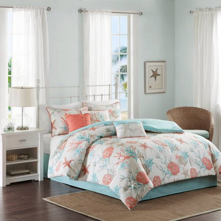Home Essence Ocean View 7PC Cotton Sateen Printed Comforter Bedding Set (Ocean Comforter Set)