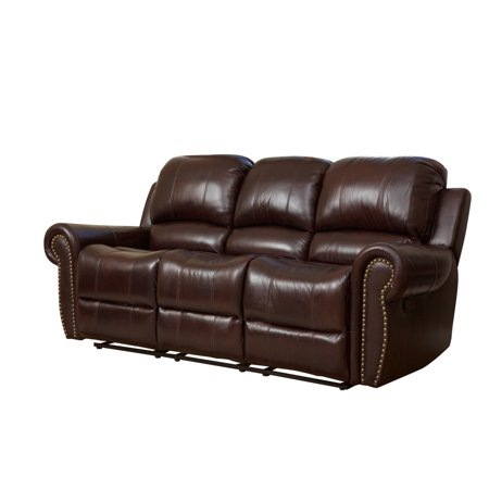 Devon Claire Shiloh Power Reclining Traditional Leather Dark Brown Sofa