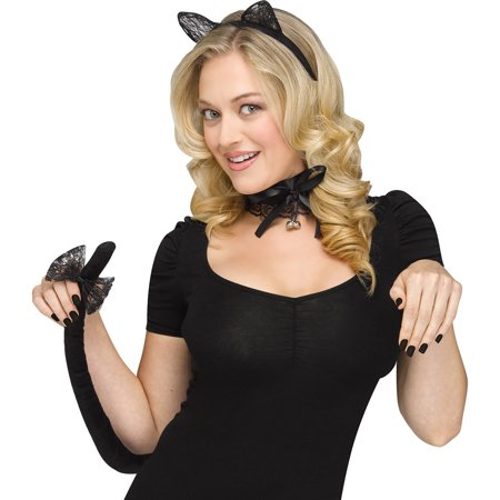 Fun World Halloween Sexy Cat Ears & Tail 2pc Costume Accessory Kit, Black - Black Cat Superstitions Halloween