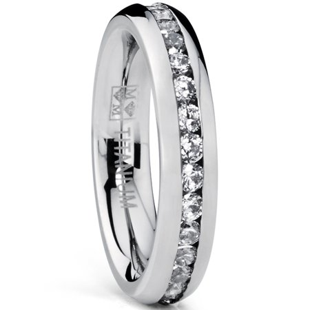 Eternity Wedding Ring - 4MM High Polish Ladies Eternity Titanium Ring Wedding Band with Cubic Zirconia CZ Sizes 4 to 9