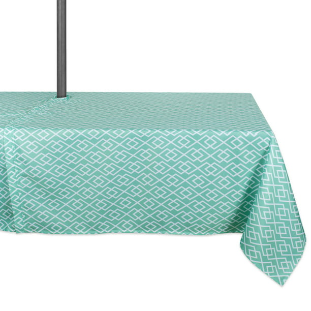 "DII Aqua Diamond Tablecloth With Zipper, 60x84"", 100% Polyester"