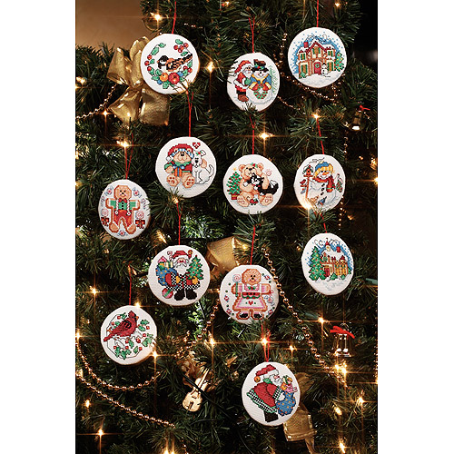 """Janlynn Holiday Favorites Round Ornaments 14-Count Cross Stitch Kit, 3"""""""