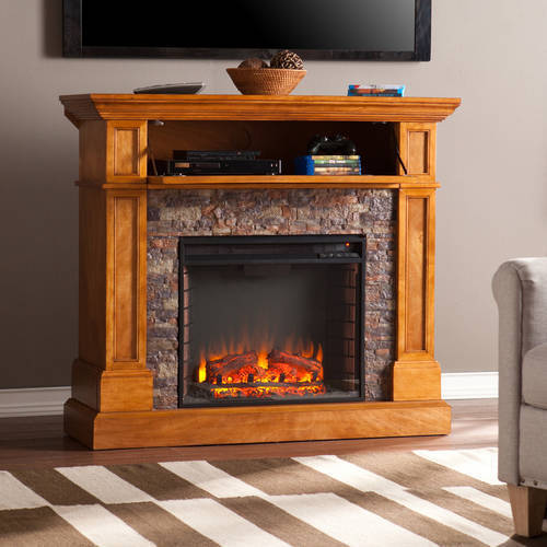 Priscilla Corner Media Electric Fireplace Console with Faux Stone,for TV;s