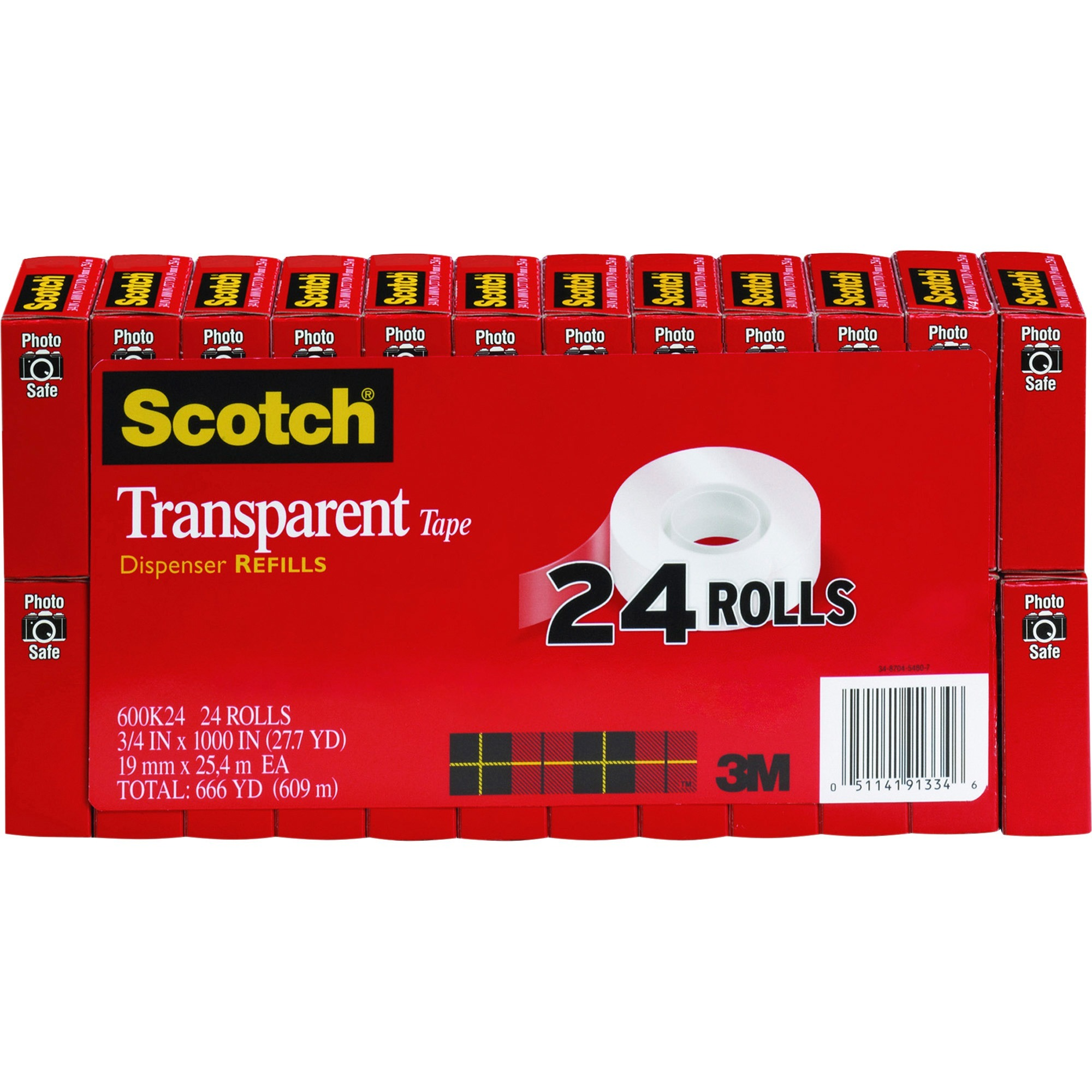 Scotch, MMM600K24, Transparent Tape Refills Value Pack, 24 / Pack, Clear