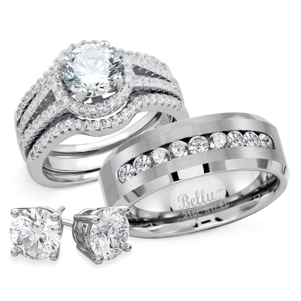 Bellux Style - His and Hers Wedding Engagement Anniversary Ring Sets Women's  Sterling Silver Rings Set and Men's 316L Stainless Steel Wedding Bands +  Free Stud Earrings (Women's Size 07 & Men's