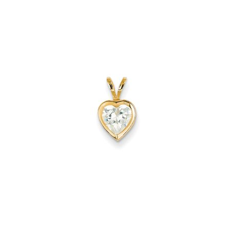 14k Yellow Gold 6mm Heart Cubic Zirconia bezel