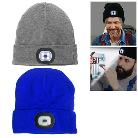 Beanie Cap 4 LED Flashlight Hat Hands Free Warm Headlight Rechargeable Run  Torch - Walmart.com d0026eb186d9