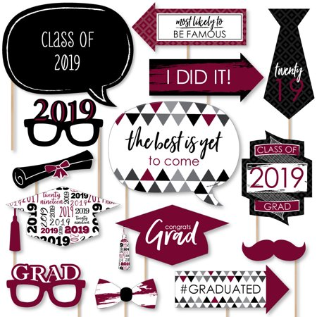 Maroon Grad - Best is Yet to Come - Burgundy 2019 Graduation Party Photo Booth Props Kit - 20