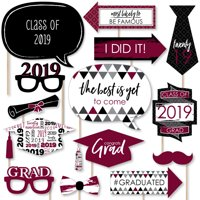 Maroon Grad - Best is Yet to Come - Burgundy 2019 Graduation Party Photo Booth Props Kit - 20 Count