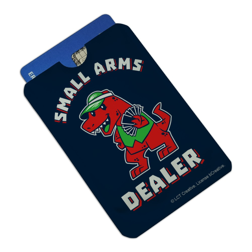 Small Arms Dealer T-Rex Card Poker Funny Humor Credit Card RFID Blocker Holder Protector Wallet Purse Sleeves Set of 4