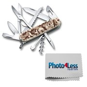Victorinox Swiss Army Huntsman Pocket Knife, Desert Camo + Photo4less Cleaning Cloth