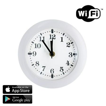 SpygearGadgets® 1080P HD WiFi Internet Live Streaming Wall Clock Hidden Nanny Camera - Stream Live Video to iPhone or (Hidden Video)