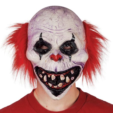 Star Power Dark Twisted Circus Clown Mask with Hair, White Red, One Size