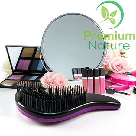 Detangling Hair Brush Best Detangler Comb - No Pain Detangler Brush For Curly Wavy Thick or Thin Hair - Black Purple and Combo Set - Premium Nature (Best Cricket Comb For Curly Hairs)