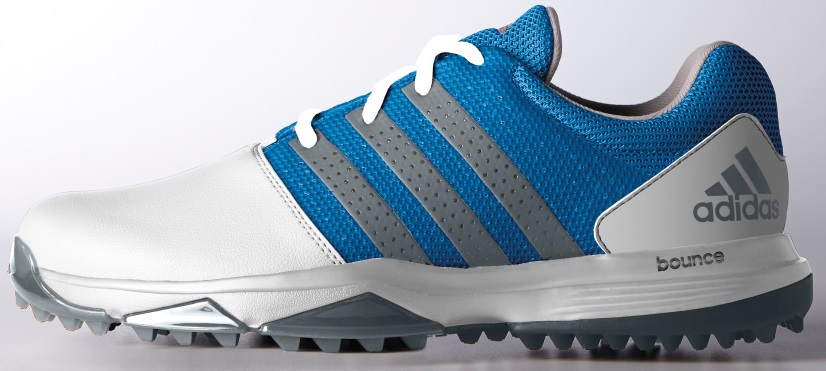 ADIDAS 360 TRAXION GOLF SHOES WHITE DARK SILVER SHOCK BLUE WIDE WIDTH -New 2017 by