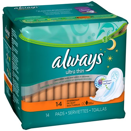 ALWAYS Ultra Thin Size 4 Overnight Pads With Wings Unscented, 14 Count