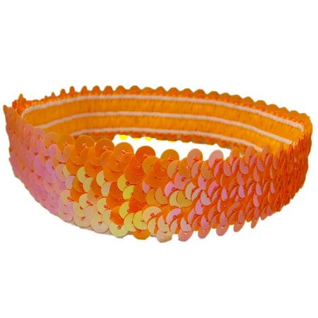 Kenz Laurenz Sequin Headband Girls Headbands Sparkly Hair Head Bands Orange