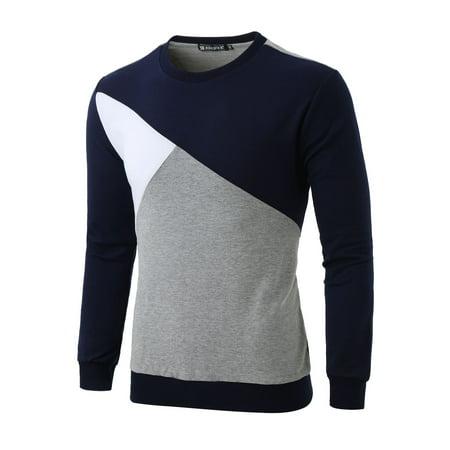 Allegra K Bloc Couleur Hommes Col Ras Du Cou Pull-over Manches Longues Garnitures Nervuré T-shirt - image 7 de 7