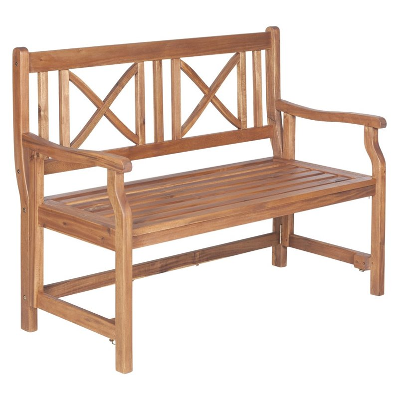 Pemberly Row Acacia Patio Folding Bench in Brown