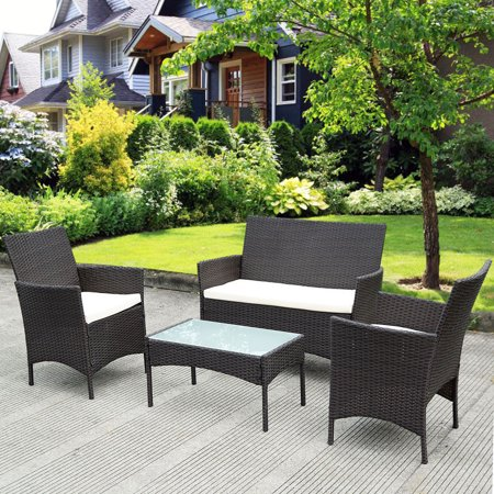 costway 4 pc patio rattan wicker chair sofa table set outdoor garden furniture cushioned - Garden Furniture Table And Chairs