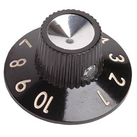 Knob - Black 1-10, Skirted, Set Screw By Replacement for Fender