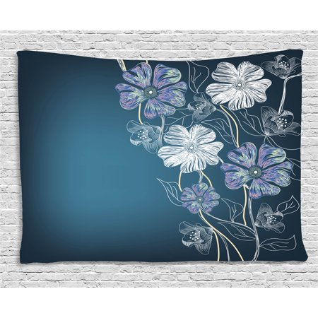 Art Tapestry, Hand Drawn Cherry Blossoms Fantasy Elegant Garden Bridal Anniversary Theme, Wall Hanging for Bedroom Living Room Dorm Decor, 60W X 40L Inches, Blue Lavander White, by Ambesonne