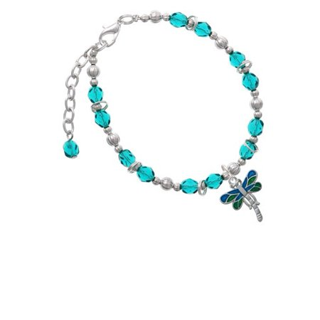Dragonfly with Green & Blue Wings Teal Beaded Bracelet - Blue Bead Bracelet