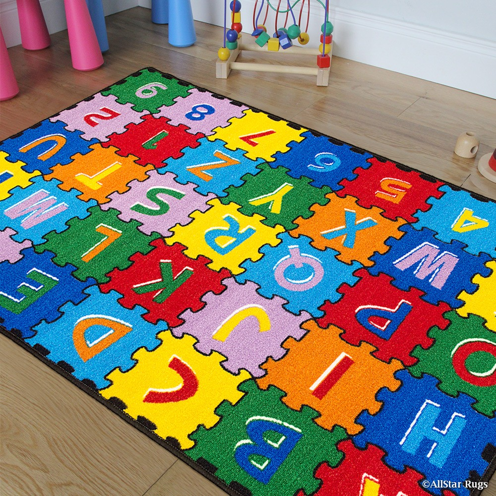 Allstar Kids   Baby Room Area Rug. A-Z 1-9 Learn ABC   Alphabet Puzzle. Bright Colorful Vibrant Colors (3'... by