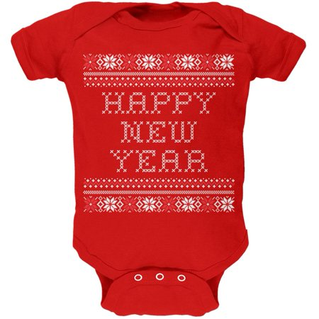 Happy New Year Ugly Christmas Sweater Red Baby One