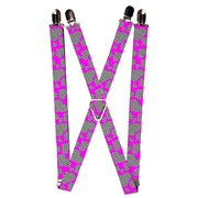 Pink and White Hearts Inside Hearts on Pink All Over Pattern Suspenders