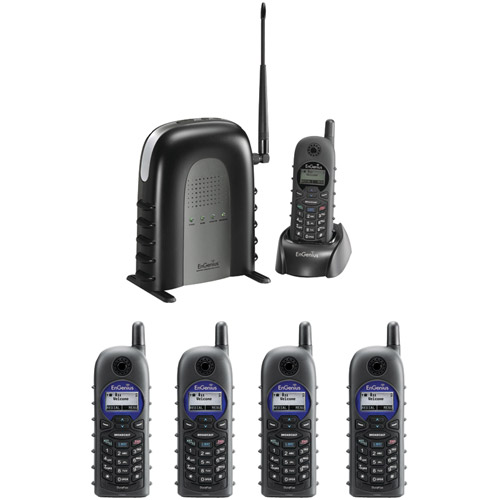 Engenius DuraFon1XPIDW 900 MHz Long-range Cordless Phone System with Base Handset and Four 2-way Radio... by EnGenius