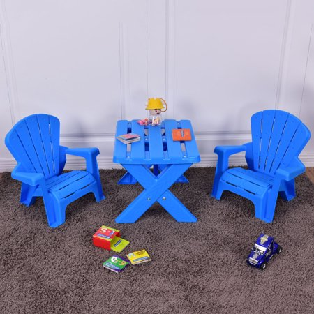 Kids Room Furniture Set (Costway Plastic Children Kids Table & Chair Set 3-Piece Play Furniture In/Outdoor Blue)