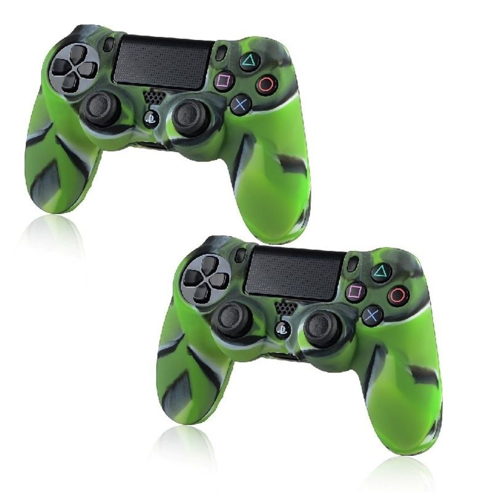 Insten 2x Camouflage Navy Green Skin Case Cover for Sony PlayStation 4 PS4
