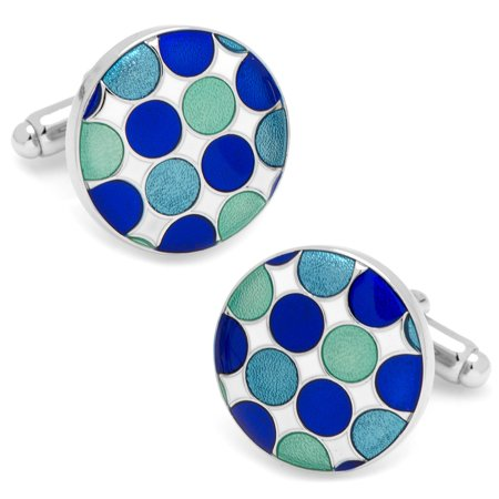 CUFFLINKS INC Mens Blue Polka Dot Cufflinks (Blue) - Modern Jewelry Accessory
