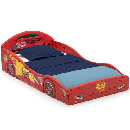 Disney Pixar Cars Lightning McQueen Plastic Sleep and Play Toddler Bed by Delta Children Lightning Mcqueen Furniture