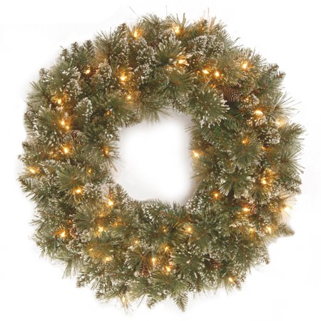 Pre-Lit Glittery Bristle Pine Artificial Christmas Wreath - 24-Inch, LED Lights Battery Operated