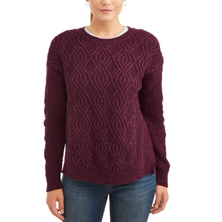 Women's Crew Neck Cable Sweater