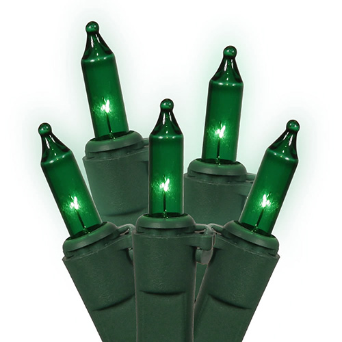 Set of 150 Heavy Duty Green Mini Christmas Lights - Green Wire Connect 6
