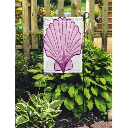 JSDART Scallop Pink Shell Sea Seashell Abstract Aquatic Beach Cartoons Garden Flag Decorative Flag House Banner 12x18 inch - image 2 de 2
