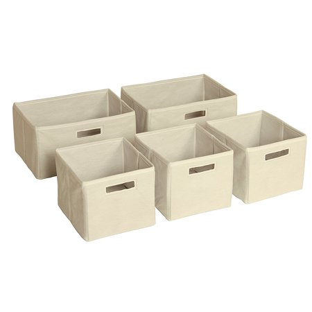 Tan Storage Bins - Set of 5 G86200, Tan small Cubby Store three Arts nonwoven Book Collapsible Pack Gray Small 59 large Baskets Canvas See 2.., By Guidecraft Ship from US