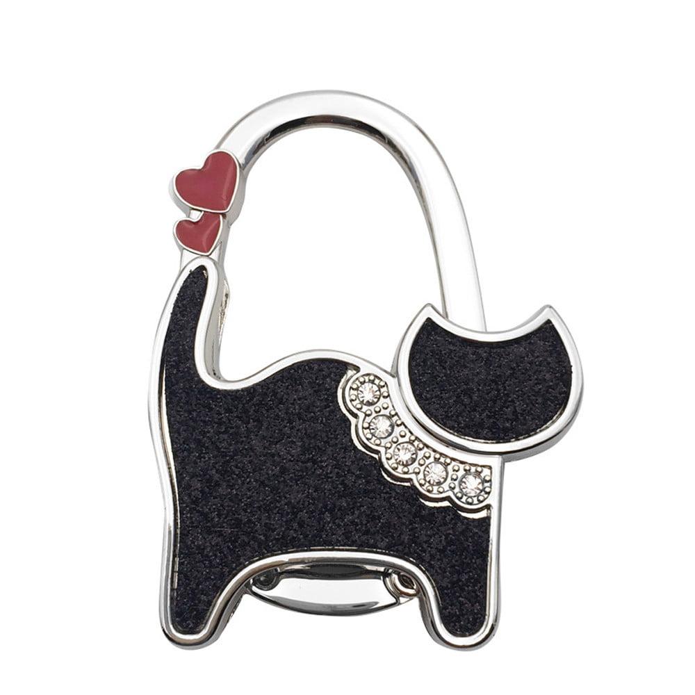 Mini Cute Cat Folding Hanger Holder Table Hook For Purse Handbag Utility